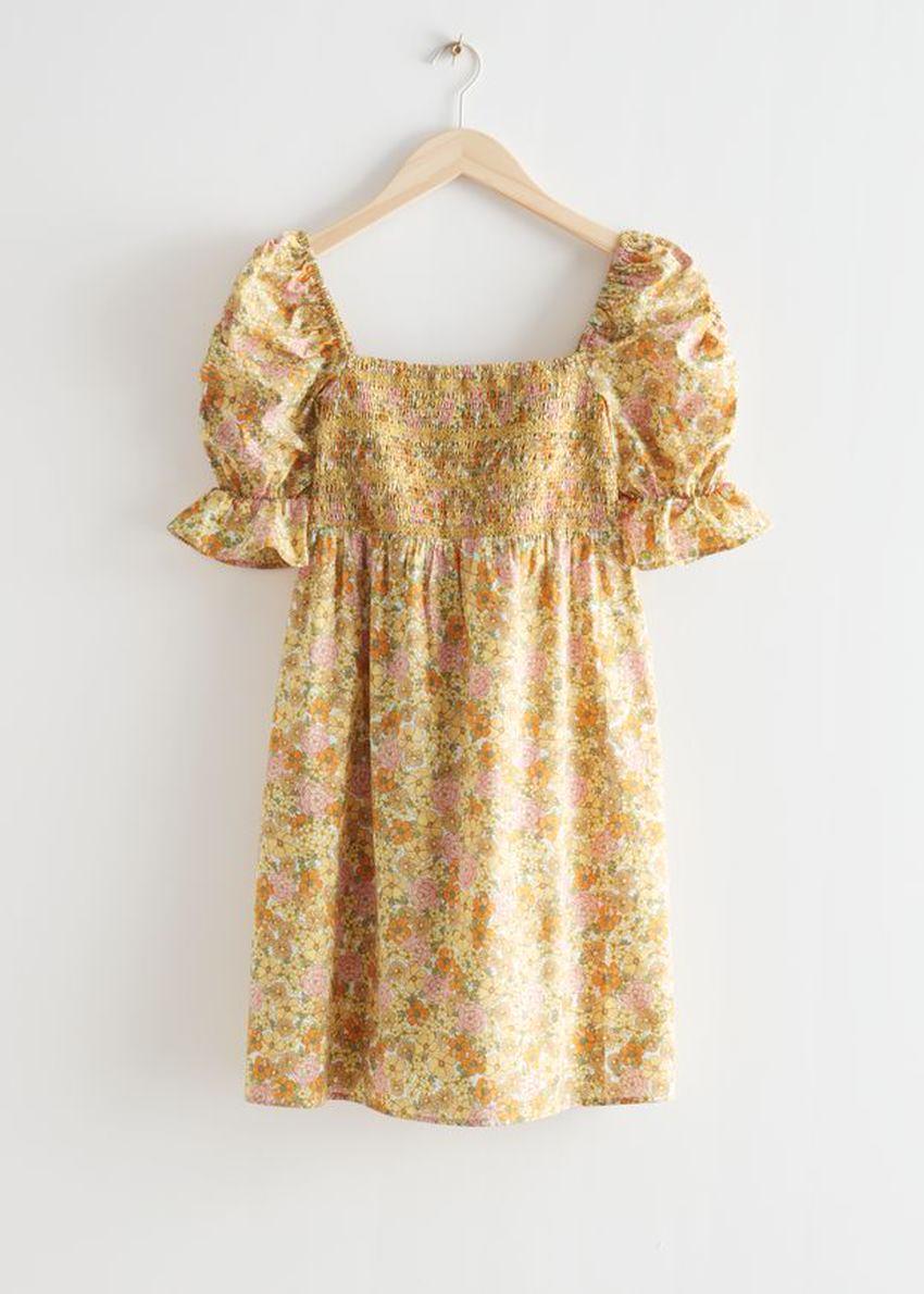 앤아더스토리즈 프린트 퍼프 슬리브 미니 드레스의 옐로우 플로럴컬러 Product입니다.