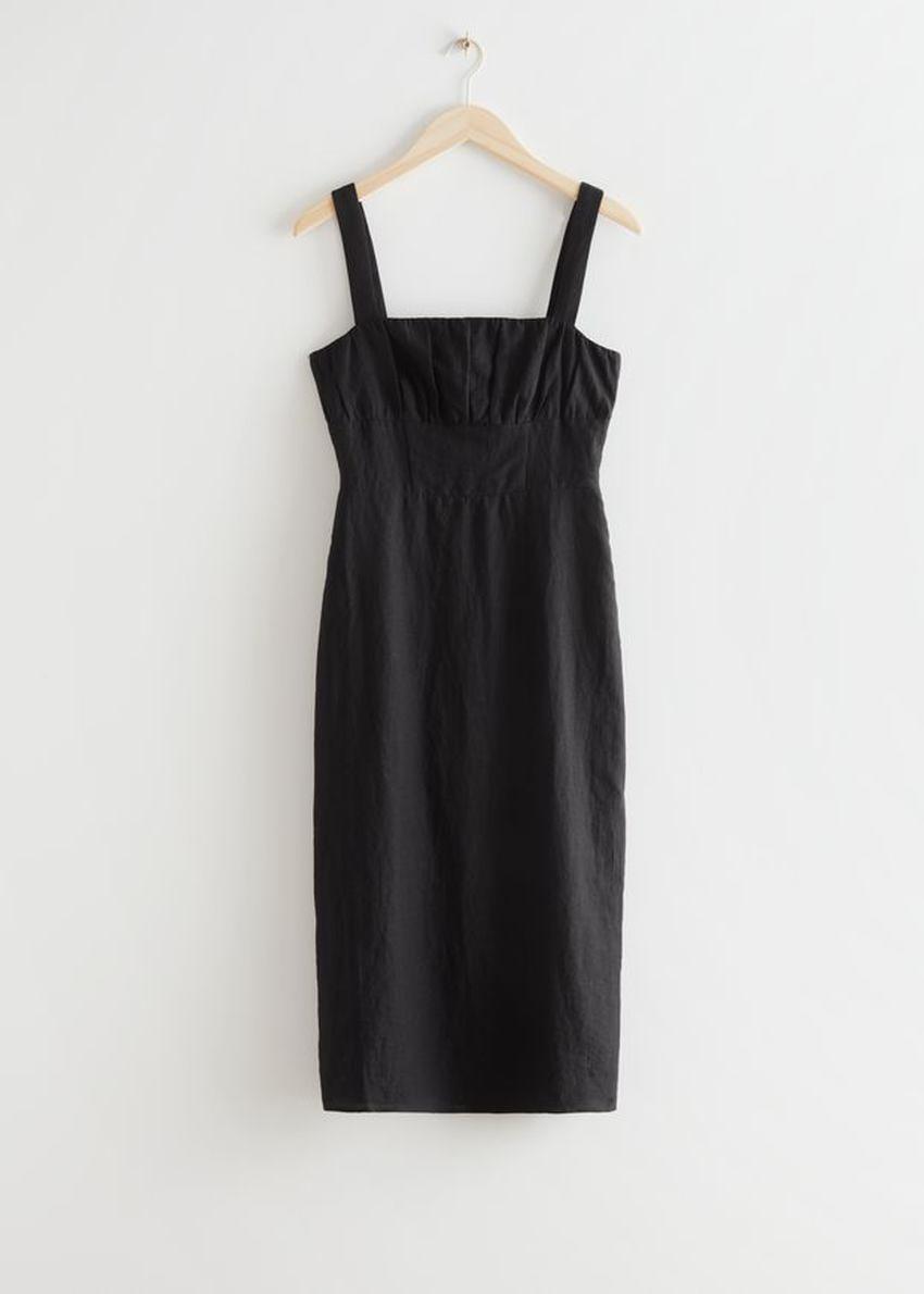 앤아더스토리즈 스트래피 리넨 미디 드레스의 블랙컬러 Product입니다.