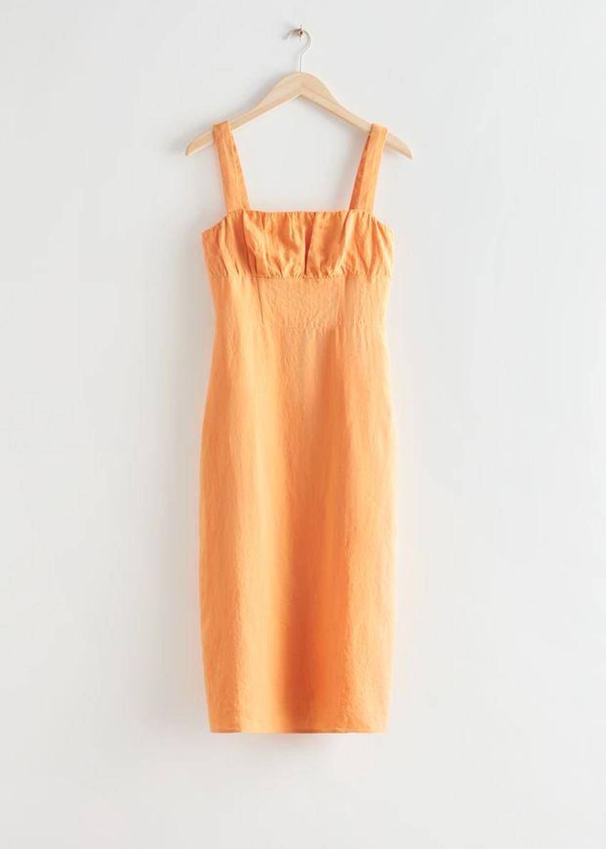 앤아더스토리즈 스트래피 리넨 미디 드레스의 옐로우컬러 Product입니다.