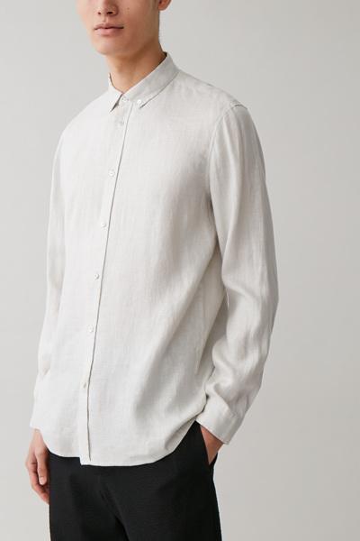 COS default image 1 of 브라운 in 버튼다운 헴프 셔츠