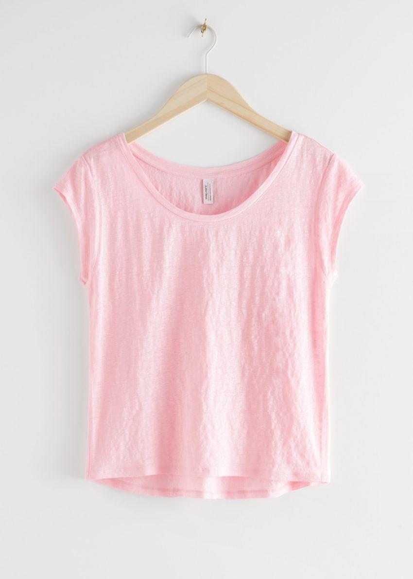 앤아더스토리즈 시어 리넨 티셔츠의 라이트 핑크컬러 Product입니다.