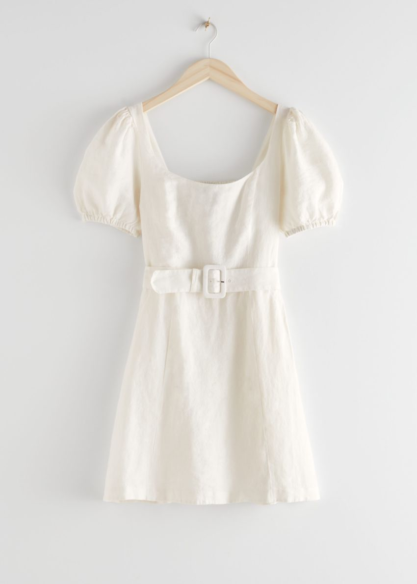 앤아더스토리즈 리넨 퍼프 슬리브 미니 드레스의 화이트컬러 Product입니다.