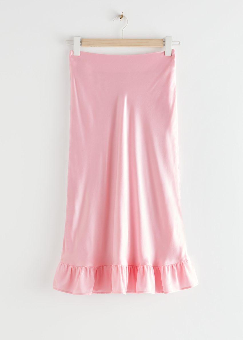 앤아더스토리즈 러플 크레이프 미디 스커트의 핑크컬러 Product입니다.