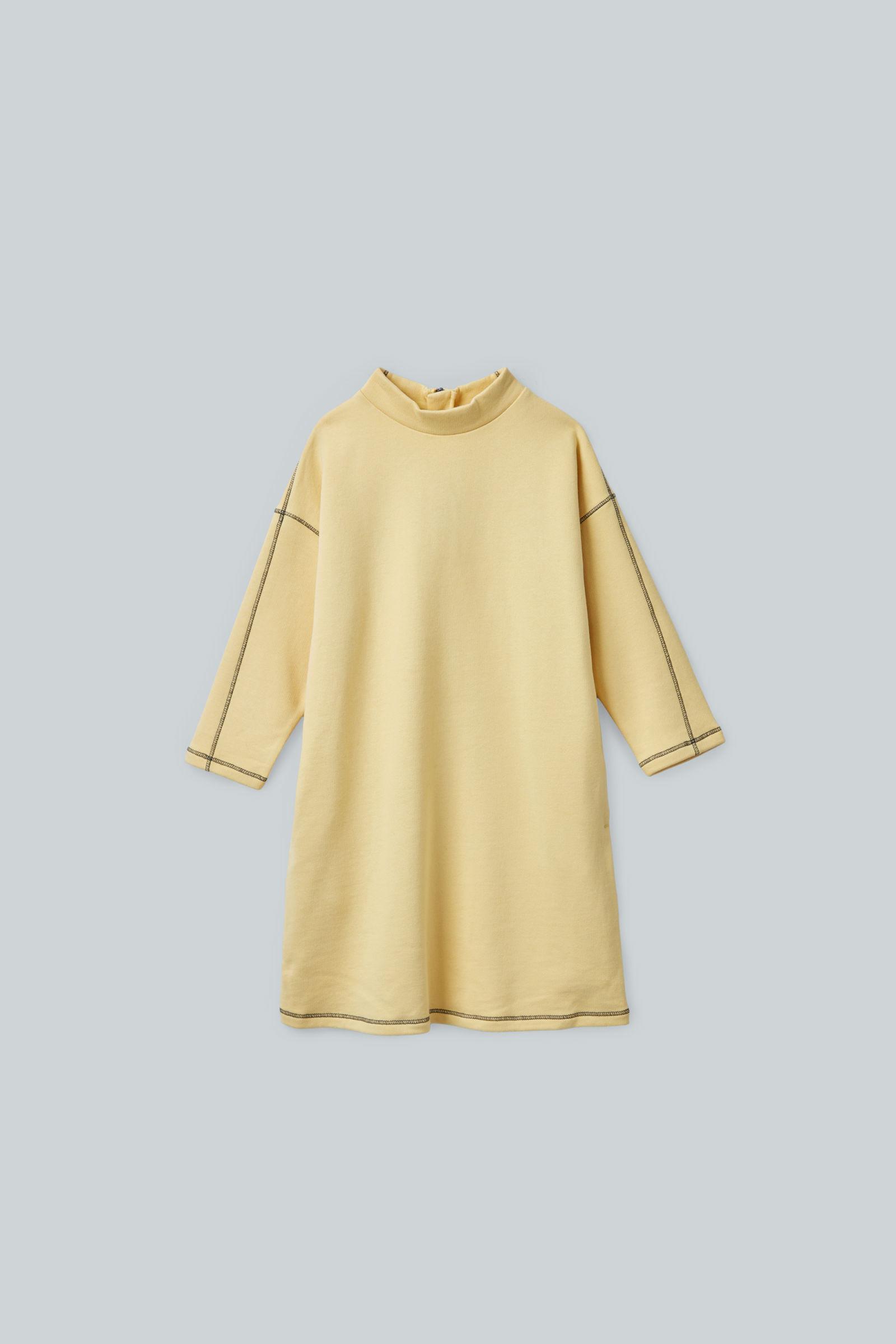 COS 집업 코튼 드레스의 옐로우컬러 상품컷입니다.