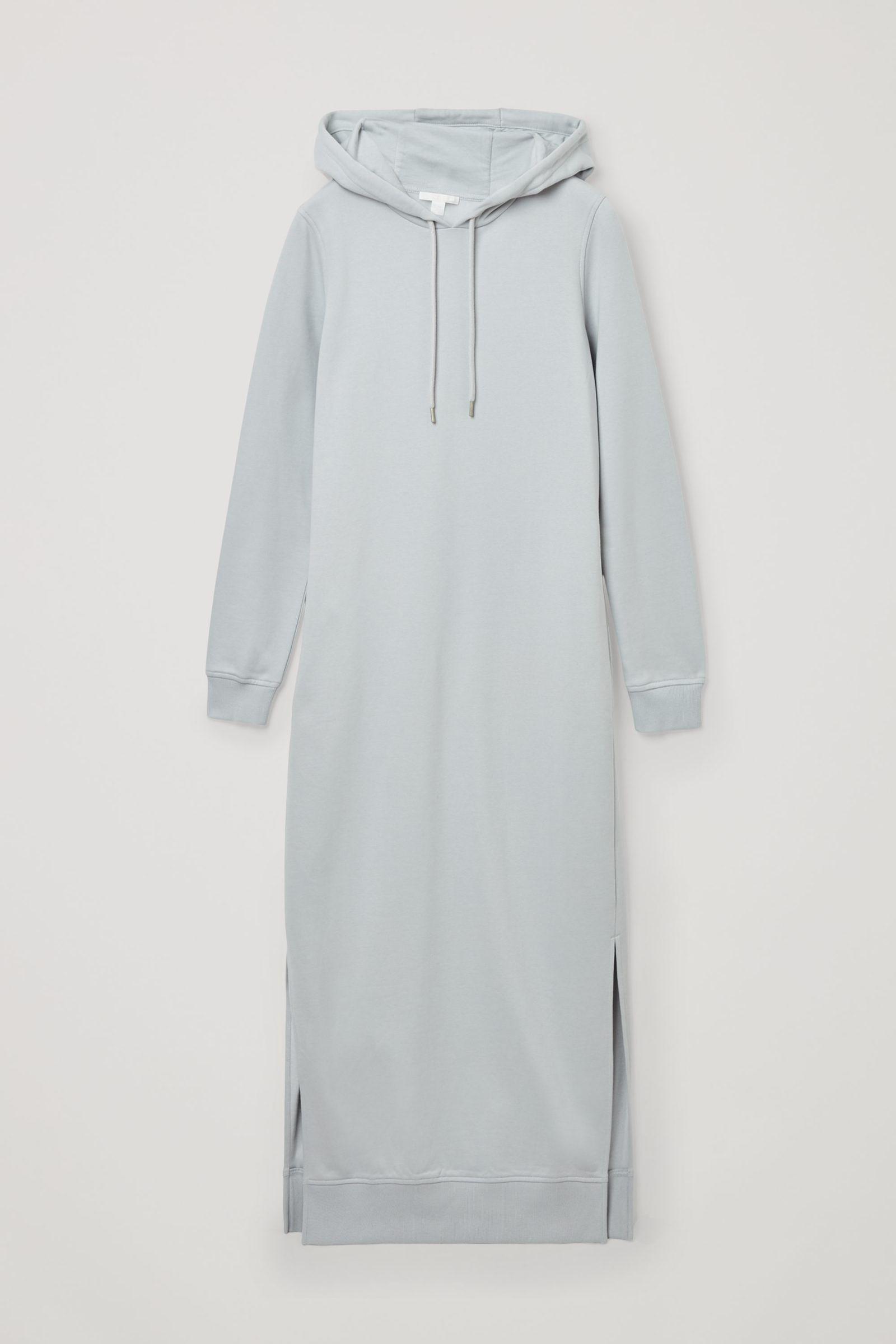 COS 오가닉 코튼 스플릿 심 후디드 스웻셔츠 드레스의 터쿼이즈컬러 Product입니다.