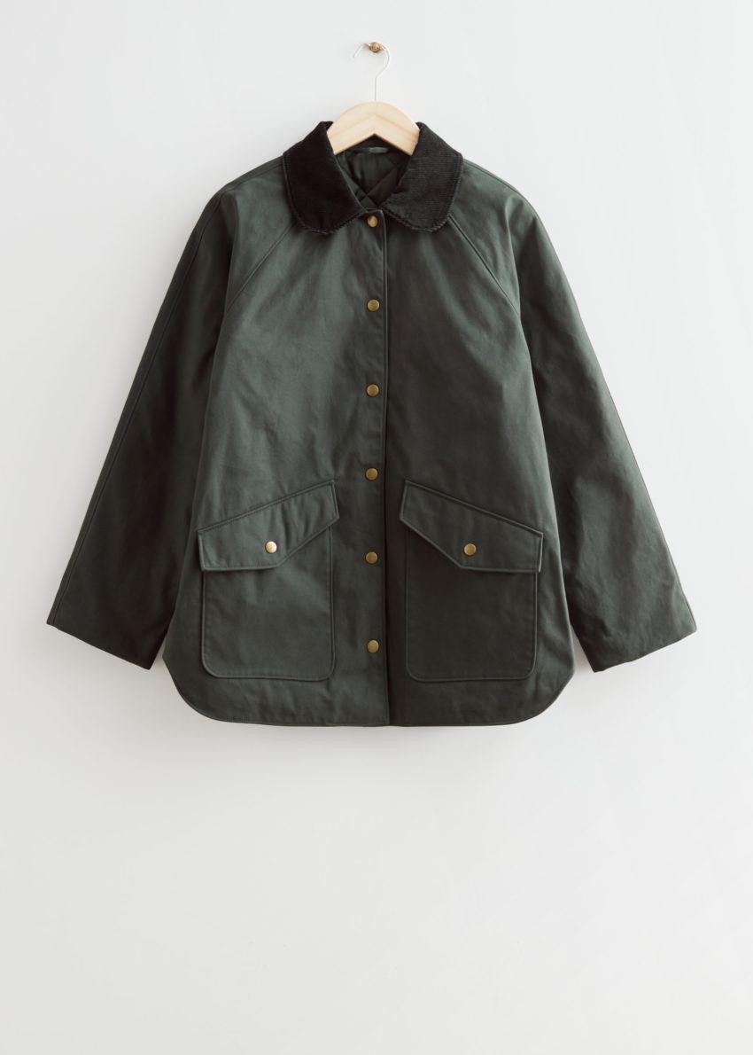 앤아더스토리즈 카라 파카 재킷의 카키컬러 Product입니다.