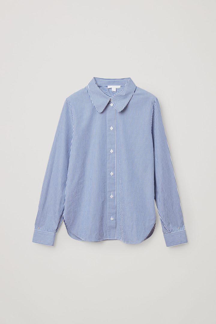 COS 오가닉 코튼 스트라이프 셔츠의 블루 / 화이트컬러 Product입니다.