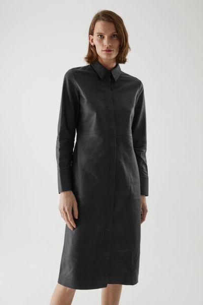 COS default image 1 of 블랙 in 나파 레더 셔츠 드레스