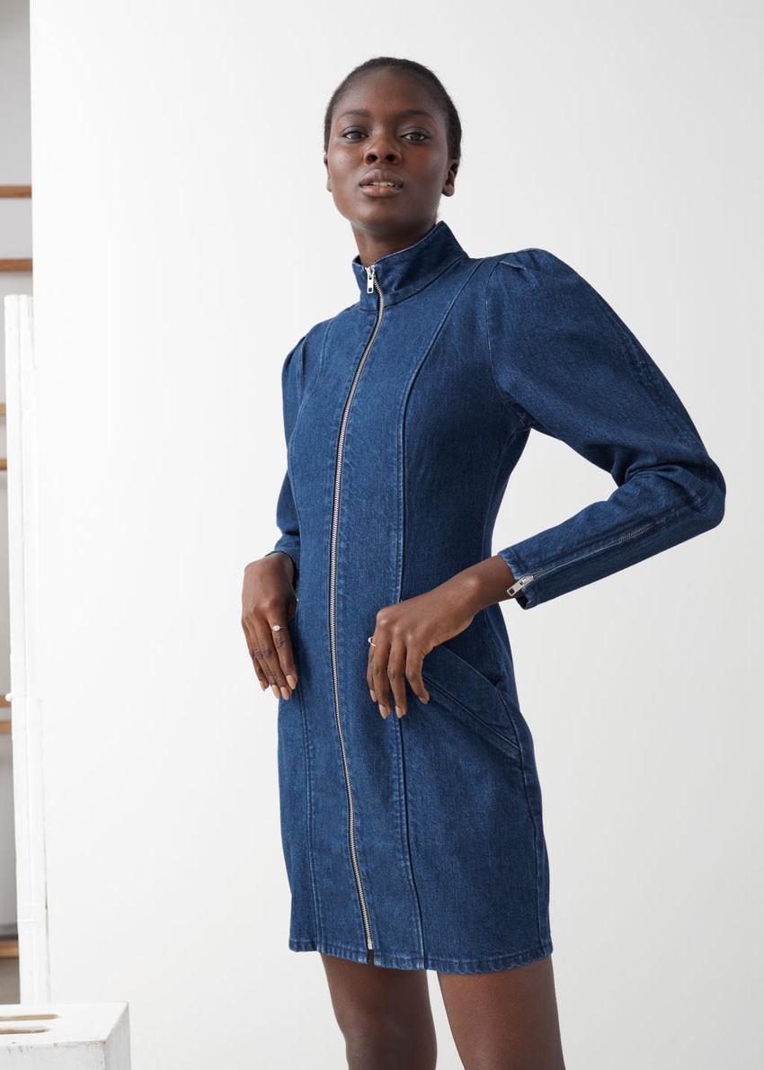 앤아더스토리즈 코튼 블렌드 데님 미니 드레스의 다크 블루컬러 ECOMLook입니다.