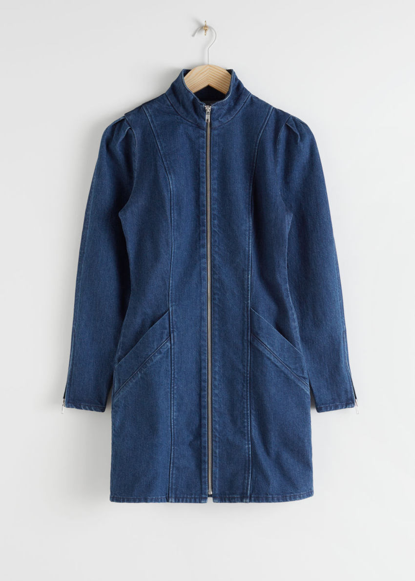 앤아더스토리즈 코튼 블렌드 데님 미니 드레스의 다크 블루컬러 Product입니다.