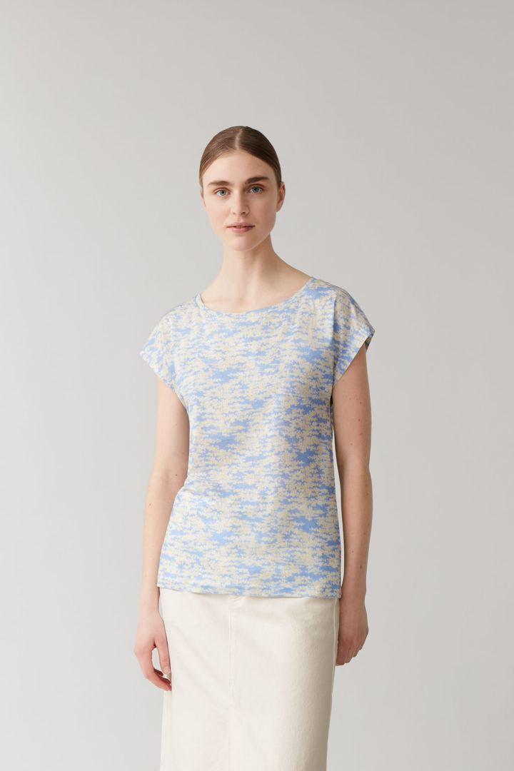 COS default image 6 of 블루 in 슬림핏 머서라이즈드 코튼 티셔츠