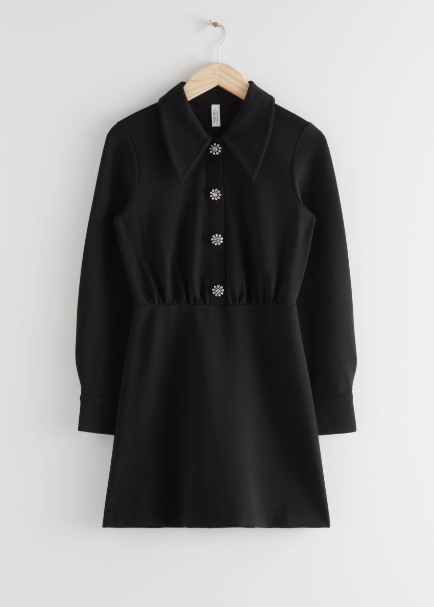 앤아더스토리즈 스트럭처드 디아망테 버튼 미니 드레스의 블랙컬러 Product입니다.