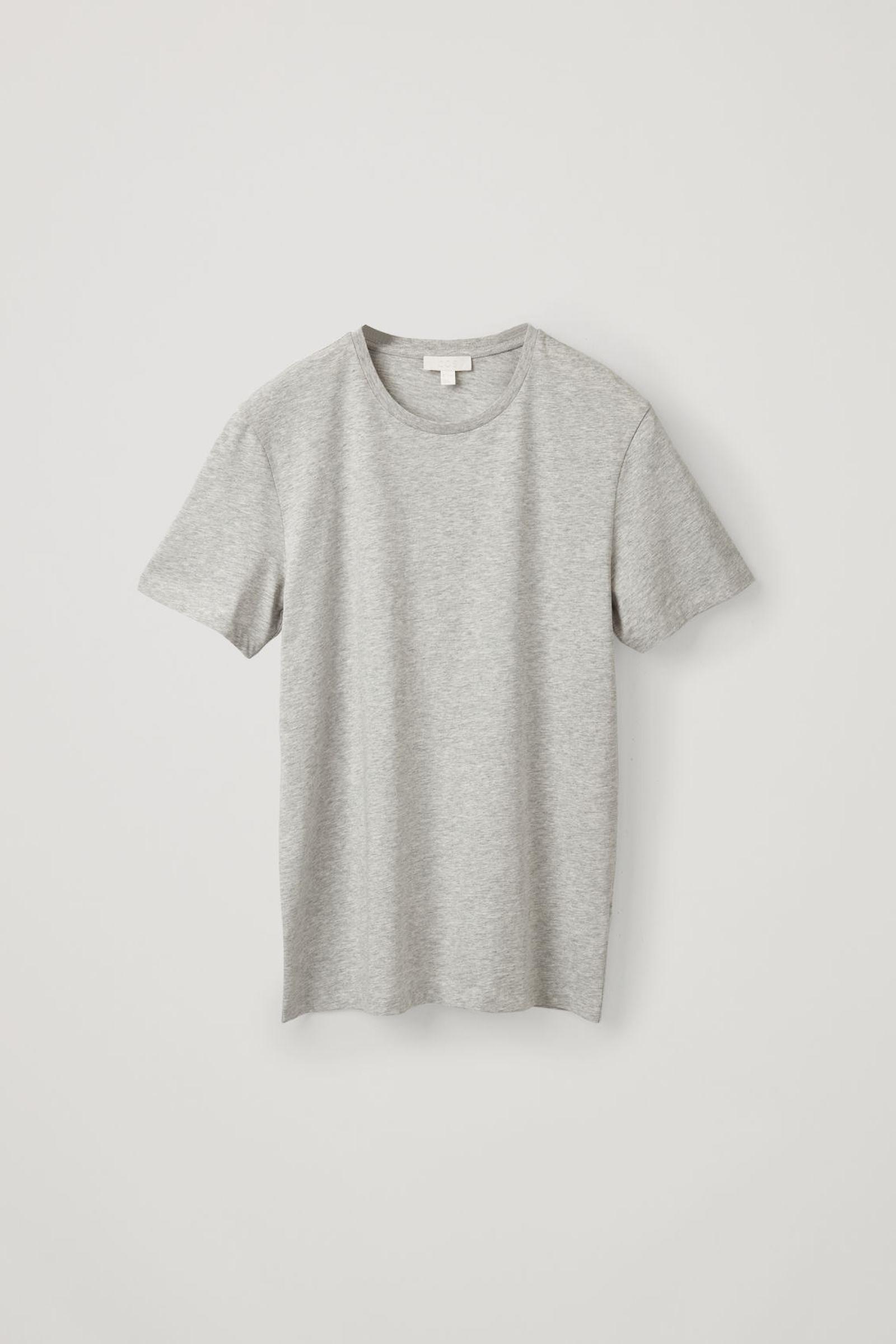 COS 라운드 넥 티셔츠의 라이트 그레이 멜란지컬러 Product입니다.