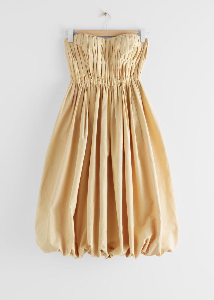앤아더스토리즈 뷔스티에 벌룬 미니 드레스 의 옐로우컬러 Product입니다.