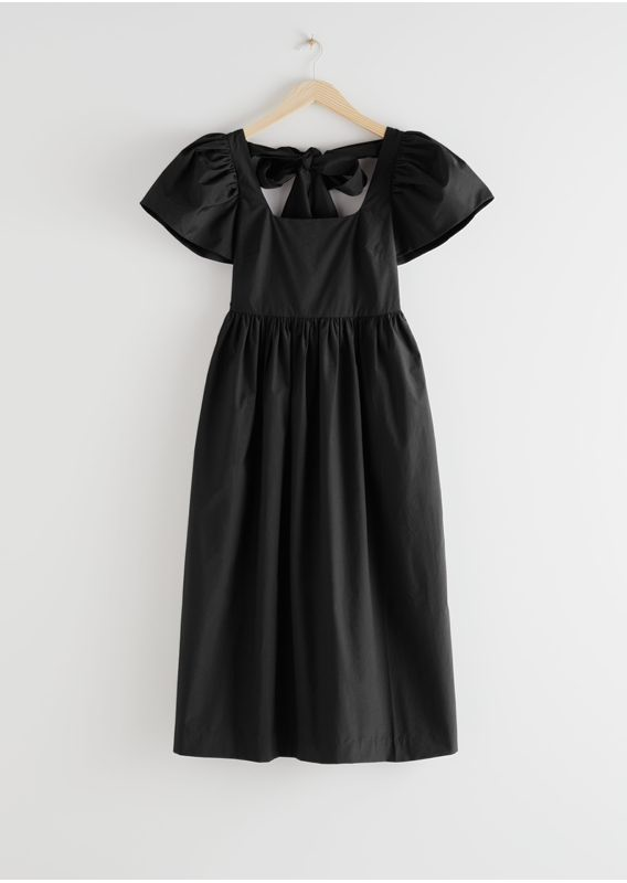 &OS image 1 of 블랙 in 하이 웨이스트 볼류미너스 슬리브 미디 드레스