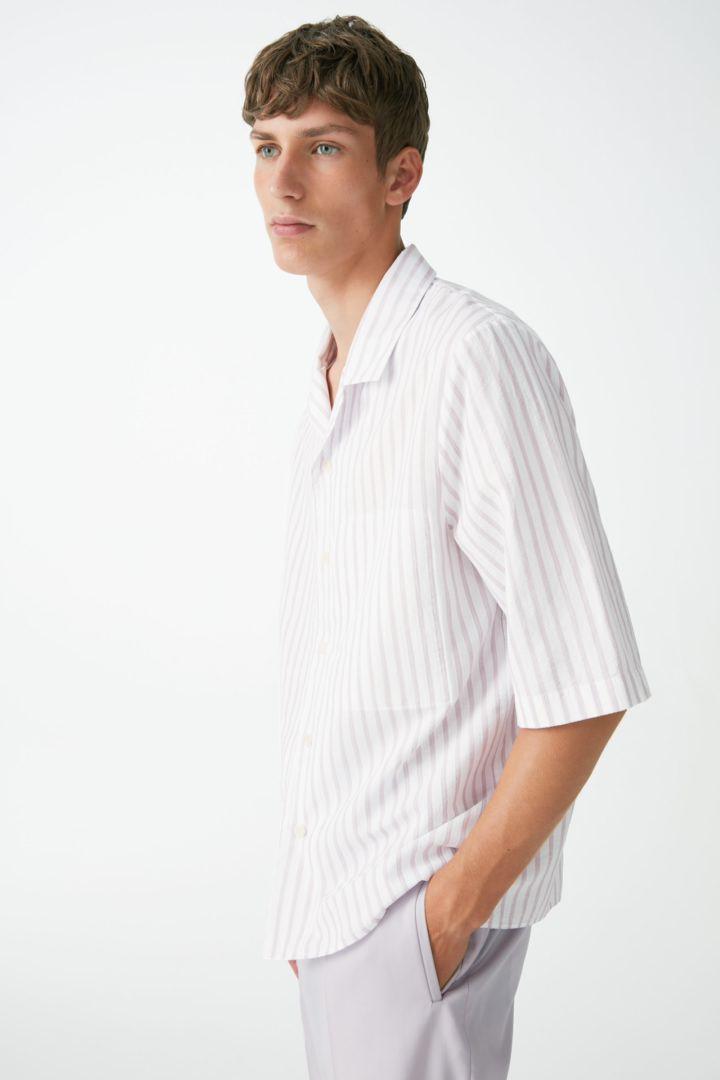 COS default image 7 of 퍼플 in 캠프 칼라 오가닉 코튼 리넨 셔츠