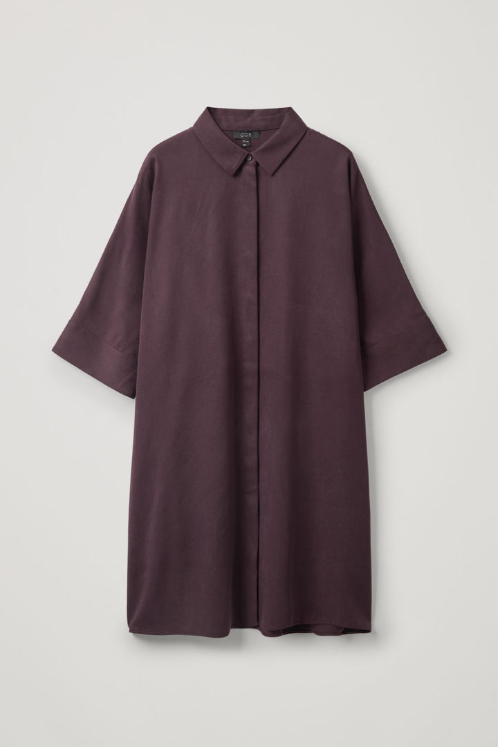COS hover image 3 of 레드 in 드레이프드 박시 셔츠 드레스