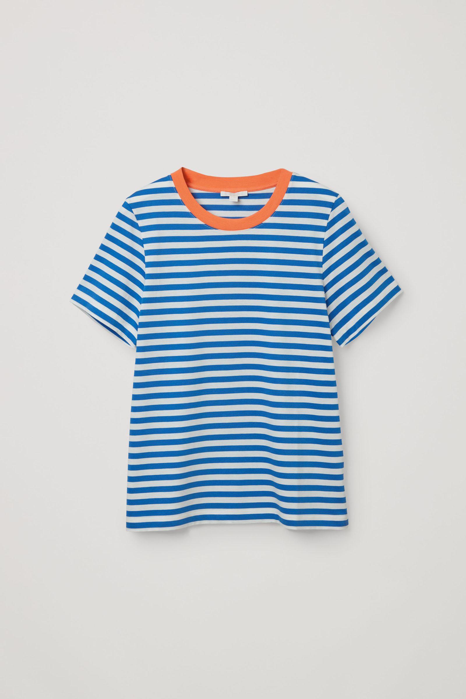 COS 코튼 저지 티셔츠의 화이트 / 블루컬러 Product입니다.
