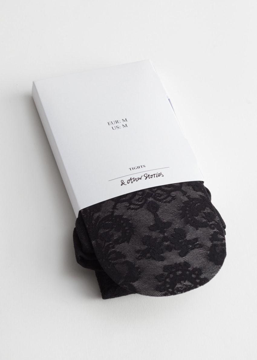 앤아더스토리즈 엠브로이더리 레이스 타이츠의 블랙 레이스컬러 Product입니다.