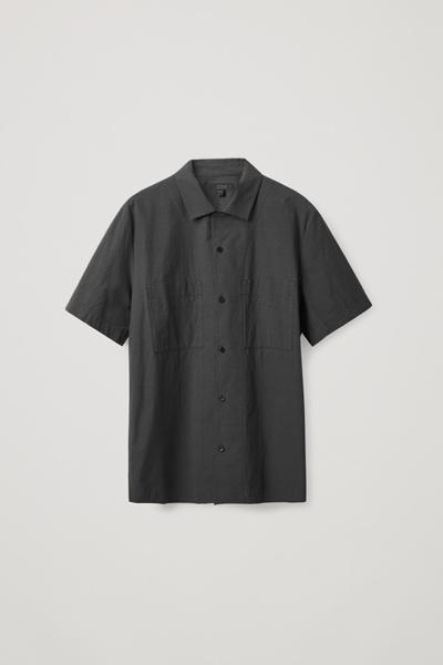 COS hover image 9 of 블랙 in 쇼트 슬리브 포플린 셔츠