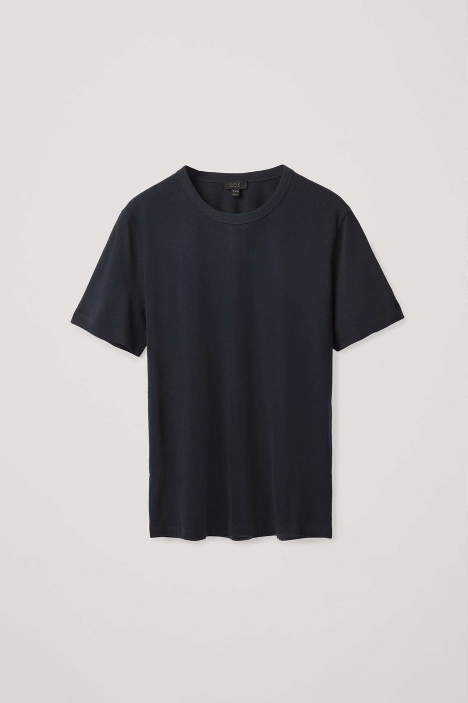 COS 레귤러 핏 브러쉬드 코튼 티셔츠의 블루컬러 Product입니다.