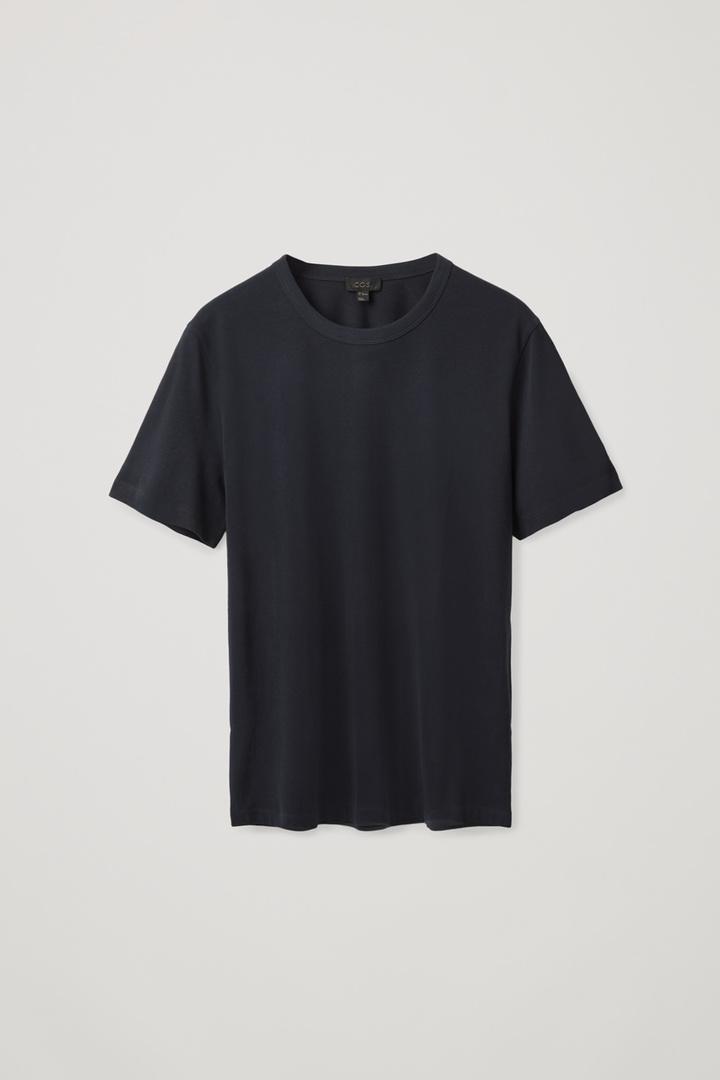COS hover image 4 of 블루 in 레귤러 핏 브러쉬드 코튼 티셔츠
