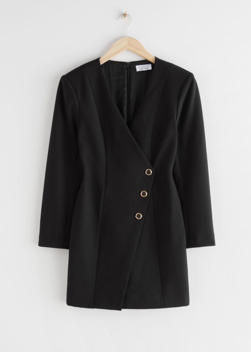 앤아더스토리즈 피티드 에이시메트리컬 패디드 숄더 미니 드레스의 블랙컬러 Product입니다.