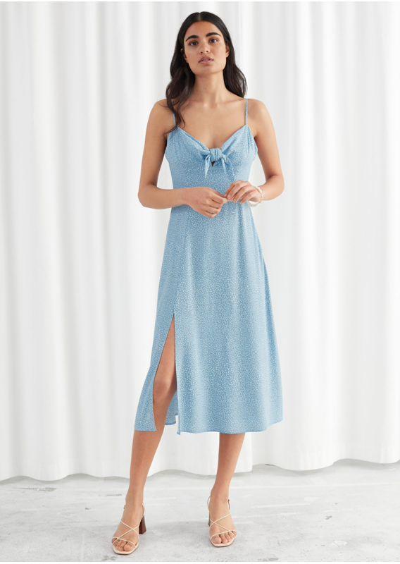 &OS image 1 of 블루 도트 in 매듭 A라인 미디 슬릿 드레스