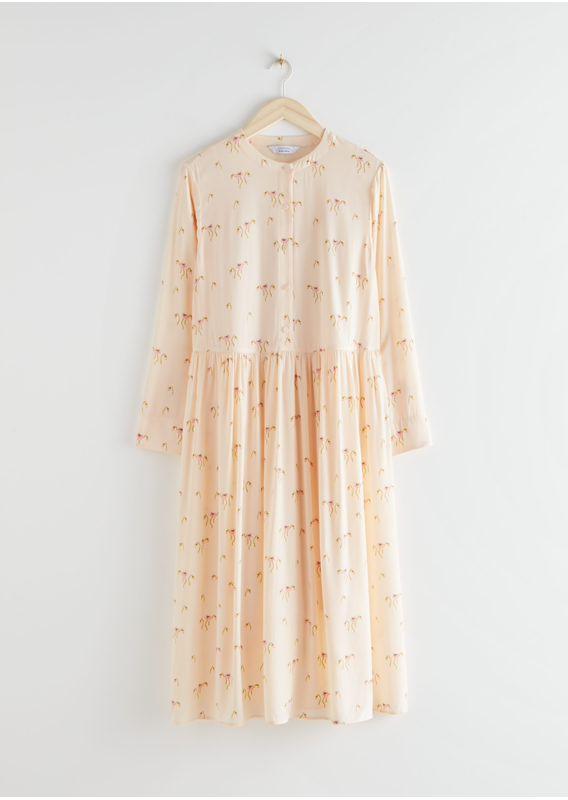 &OS image 4 of 옐로우 플로럴 in 루즈 A라인 미디 드레스