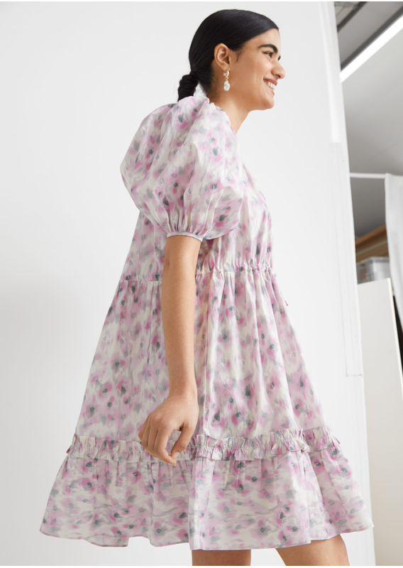 &OS image 4 of  in 티어드 퍼프 슬리브 미니 드레스