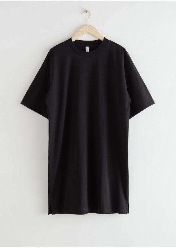 &OS image 2 of 블랙 in 릴렉스드 티셔츠 미니 드레스