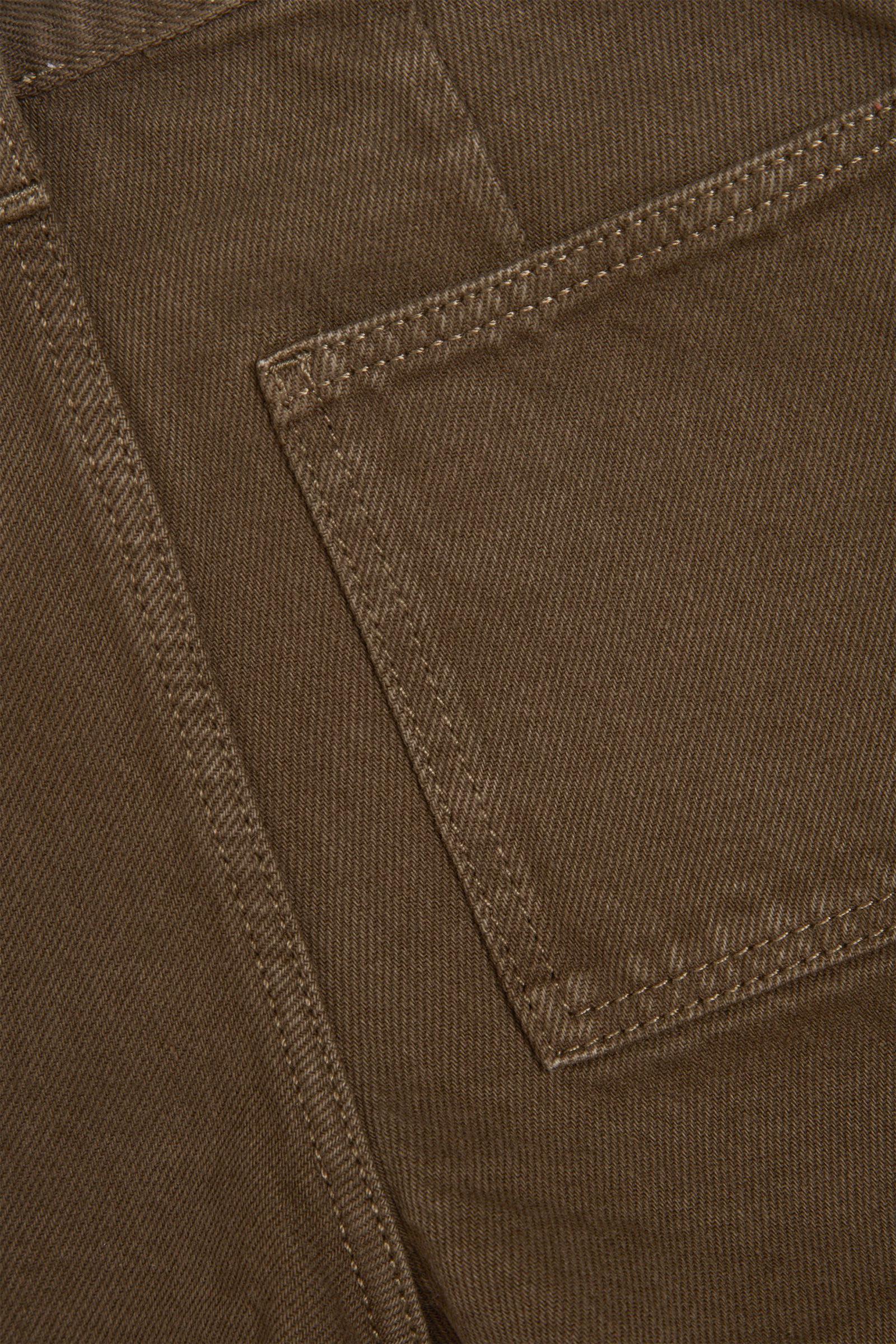 COS 오가닉 코튼 배럴 진의 카키 그린컬러 Detail입니다.