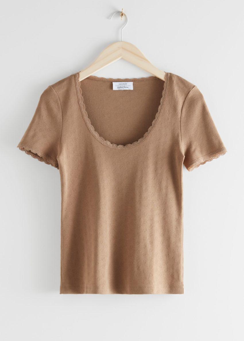 앤아더스토리즈 립 레이스 트림 티셔츠의 다크 베이지컬러 Product입니다.