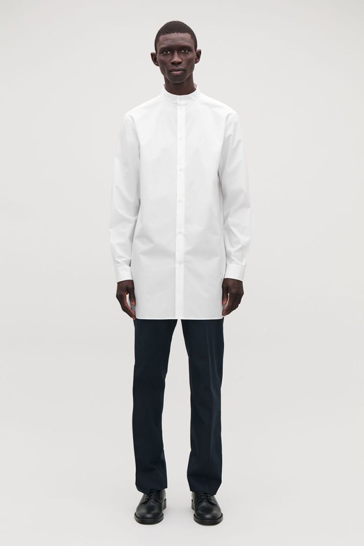 COS default image 12 of 화이트 in 스탠드 칼라 롱 코튼 셔츠