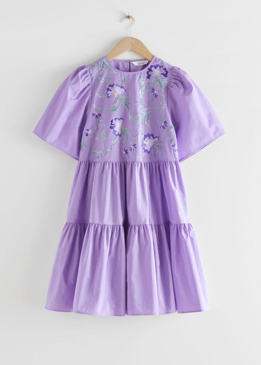 앤아더스토리즈 볼류미너스 엠브로이더리 미니 드레스의 퍼플컬러 Product입니다.