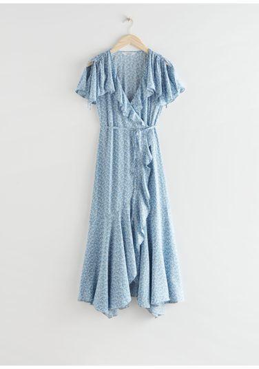 &OS image Style With default 1 of 블루 플로럴 in 에이시메트릭 랩 미디 드레스