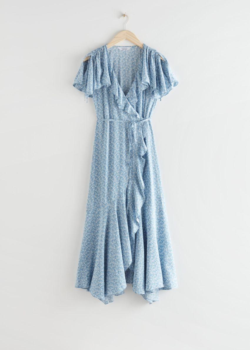 앤아더스토리즈 에이시메트릭 랩 미디 드레스의 블루 플로럴컬러 Product입니다.