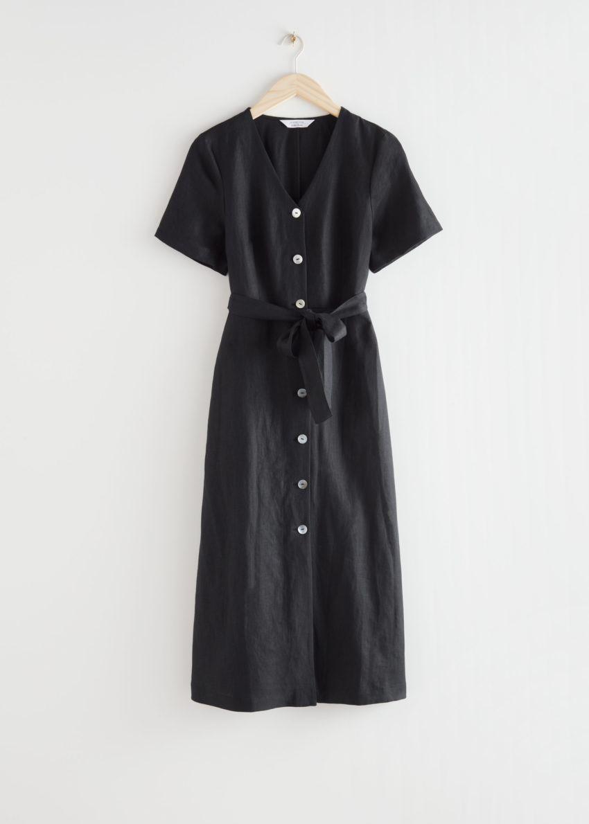 앤아더스토리즈 리넨 버튼 업 미디 드레스의 블랙컬러 Product입니다.