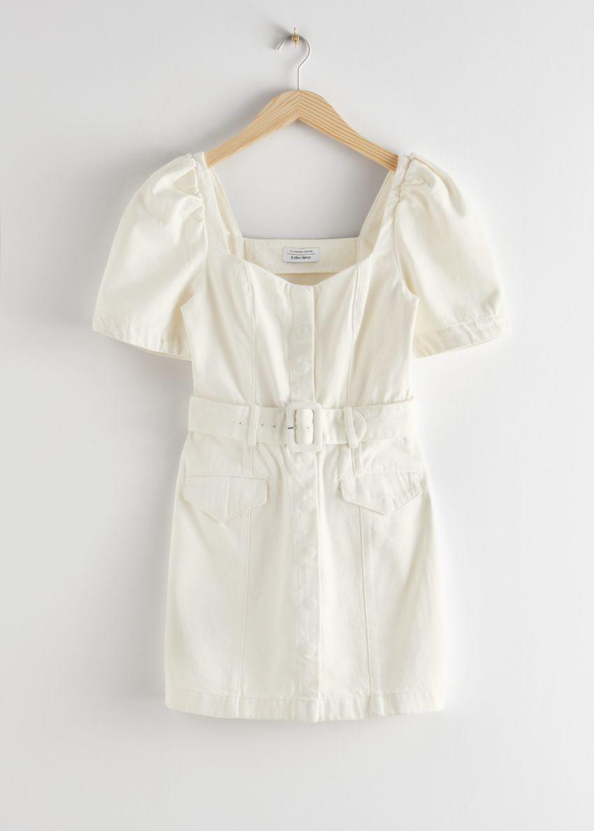 앤아더스토리즈 벨티드 스윗하트 네크라인 미니 드레스의 화이트컬러 Product입니다.