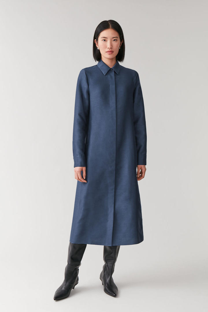 COS default image 5 of 블루 in 코튼 실크 셔츠 드레스