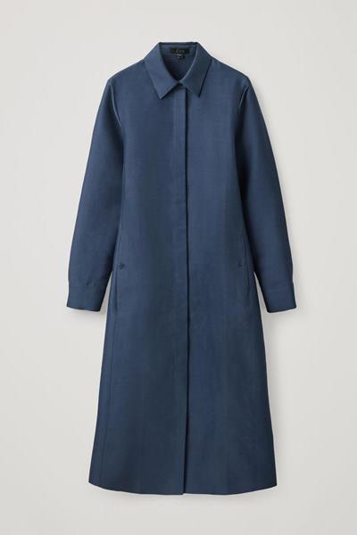 COS image 2 of 블루 in 코튼 실크 셔츠 드레스