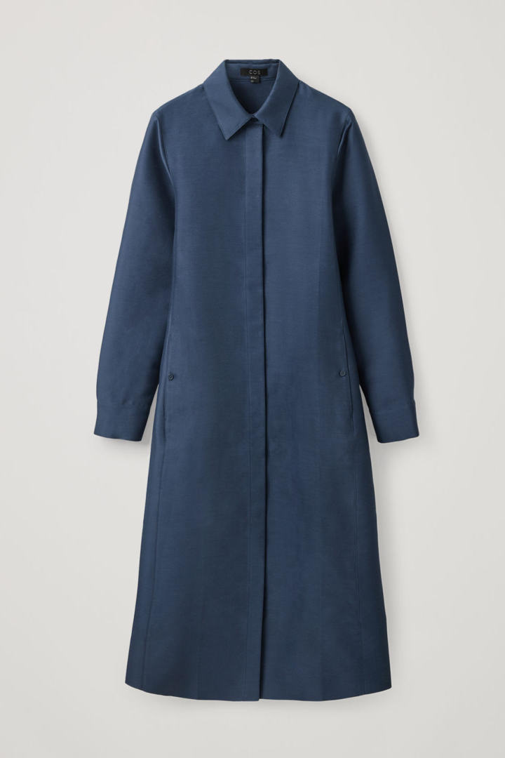COS hover image 5 of 블루 in 코튼 실크 셔츠 드레스