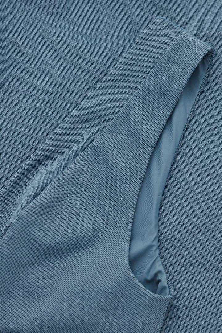 COS 피케 스윔수트의 스틸 블루컬러 Detail입니다.