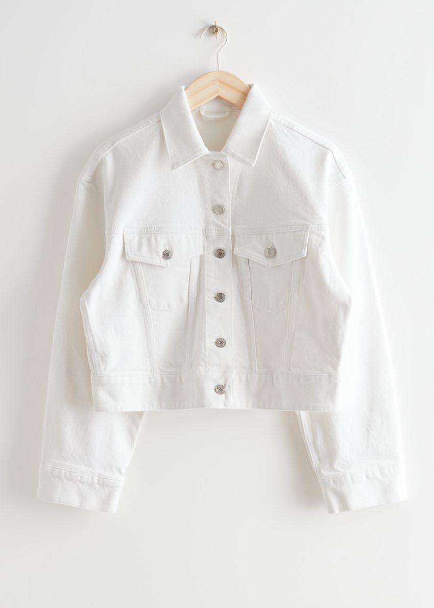 앤아더스토리즈 버튼 업 데님 재킷의 화이트컬러 Product입니다.