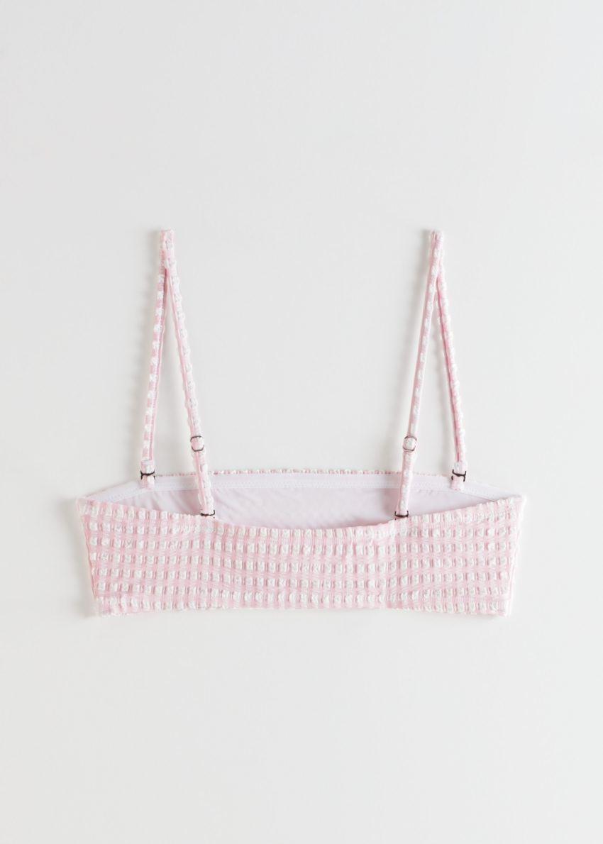 앤아더스토리즈 시어서커 방도 비키니 탑의 핑크 체크컬러 Product입니다.