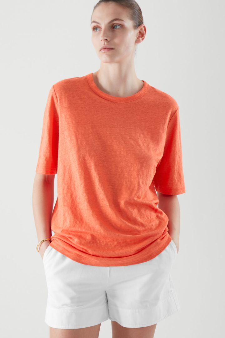 COS default image 5 of 오렌지 in 리넨 티셔츠