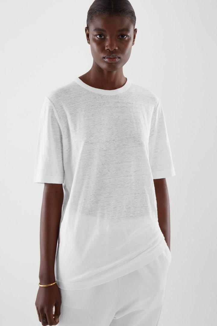 COS default image 1 of 화이트 in 리넨 티셔츠