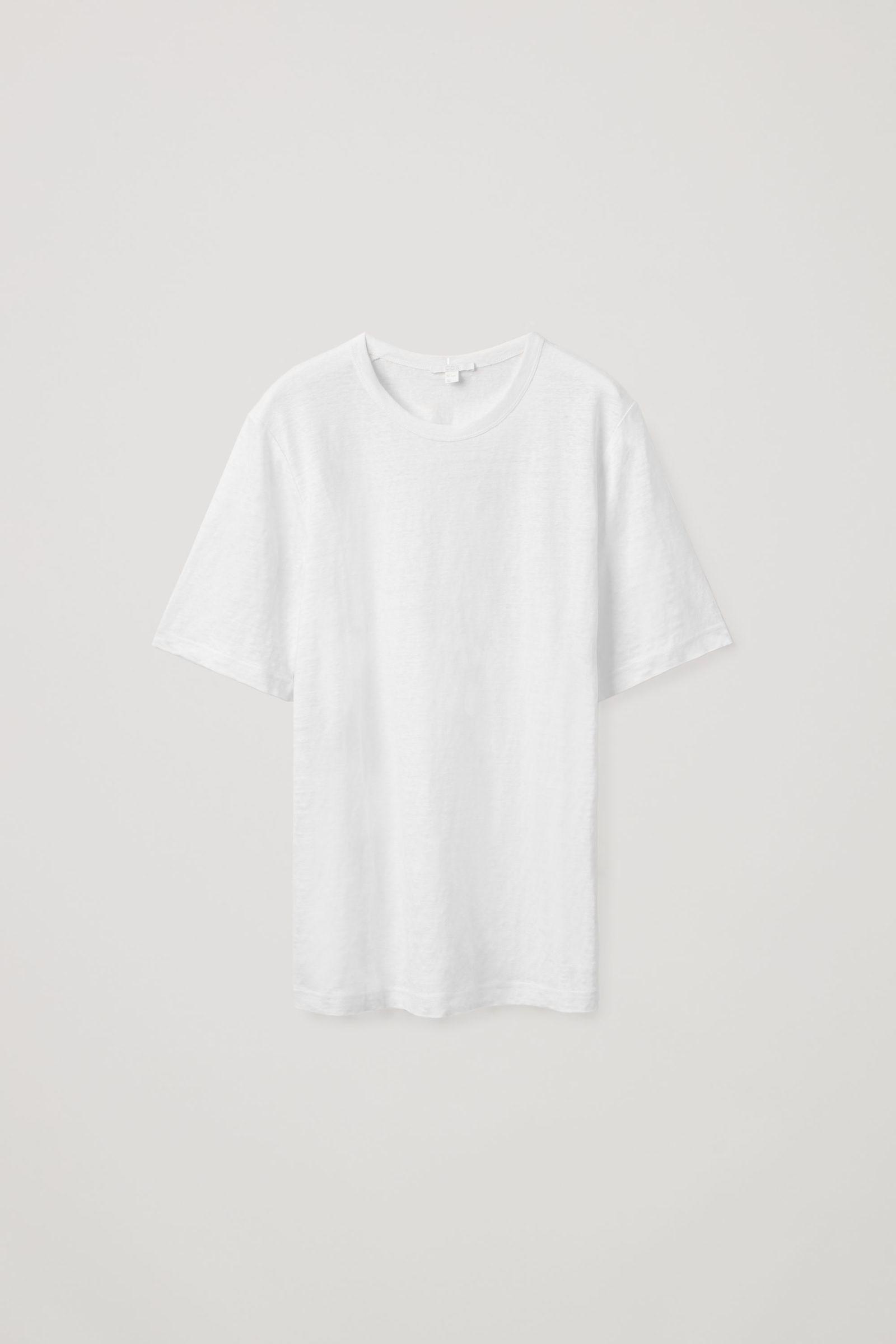 COS 롱라인 리넨 티셔츠의 화이트컬러 Product입니다.