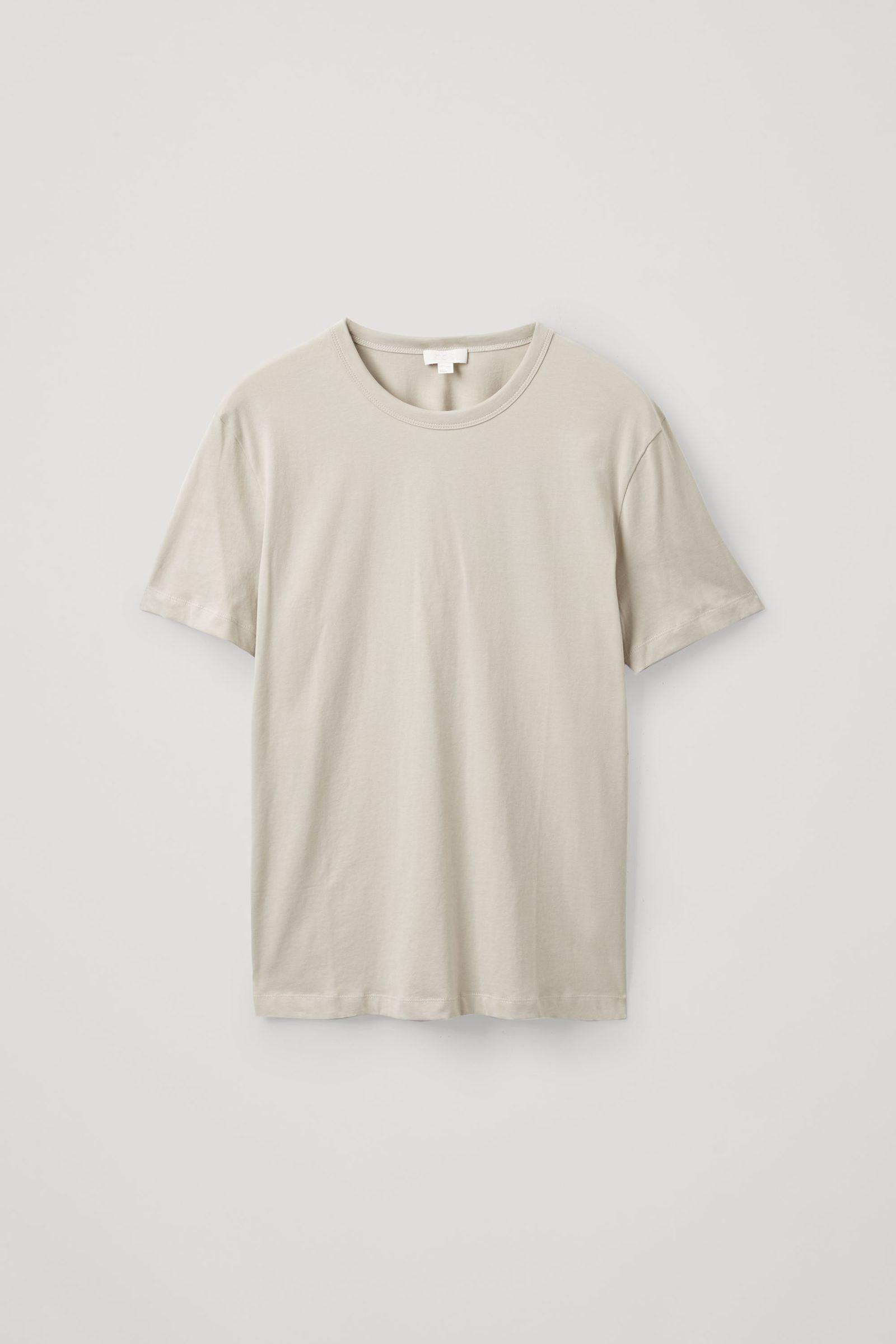 COS 브러쉬드 코튼 티셔츠의 그린컬러 Product입니다.