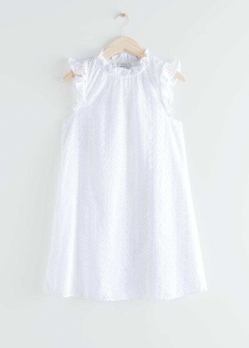 앤아더스토리즈 프릴 브로드리 앙글레즈 미니 드레스의 화이트컬러 Product입니다.
